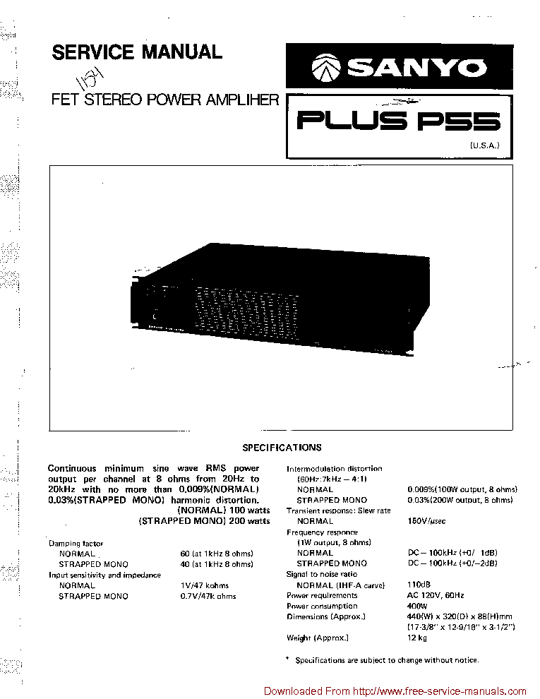 SANYO PLUS P55 service manual