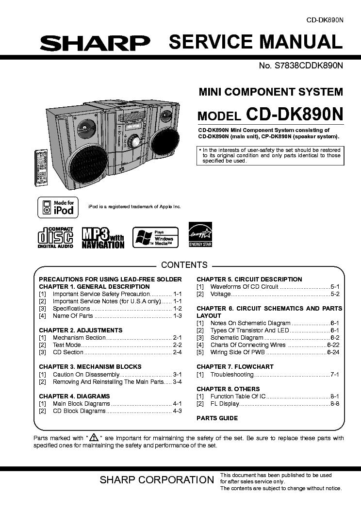sharp cd dk890n service manual download schematics eeprom repair rh elektrotanya com Sharp CD Z500 Sharp CD- DH950P Parts