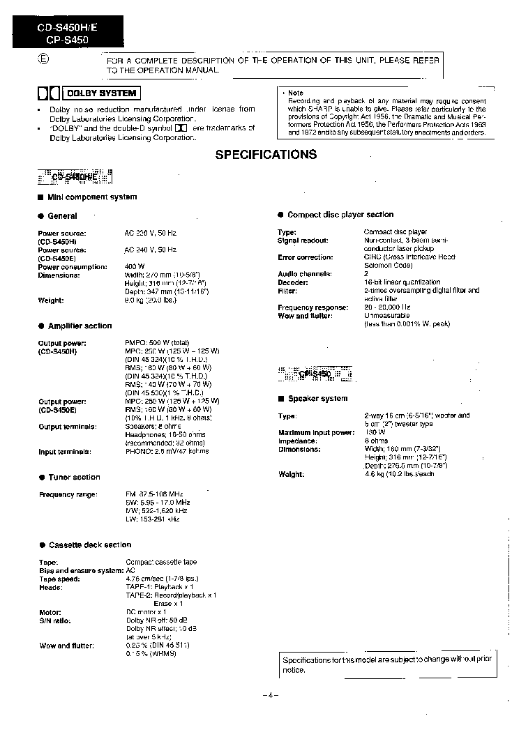 SHARP CD-S450,CP-S450 service manual (2nd page)