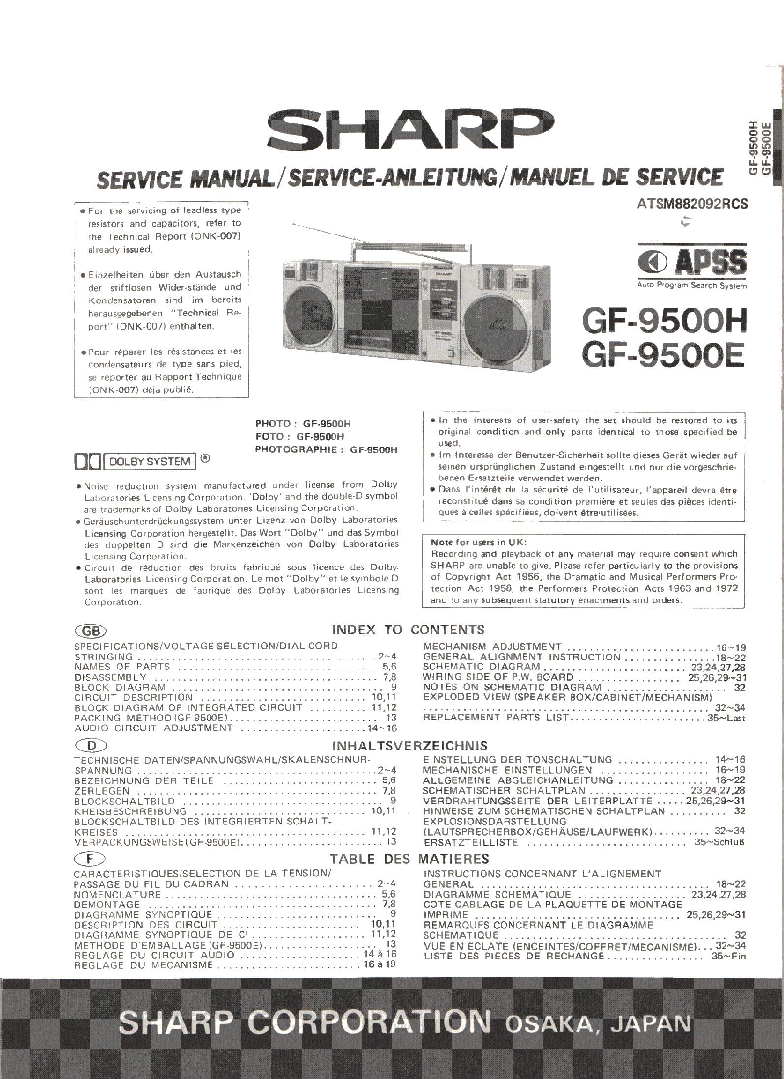 SHARP GF-9500H GF-9500E service manual (1st page)