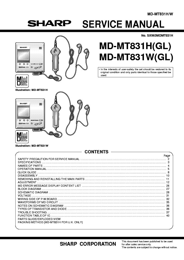 sharp mdmth w gl service manual free download, schematics, schematic