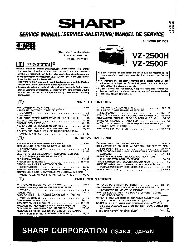 SHARP VZ-2500H VZ2500E SM Service Manual download, schematics ...