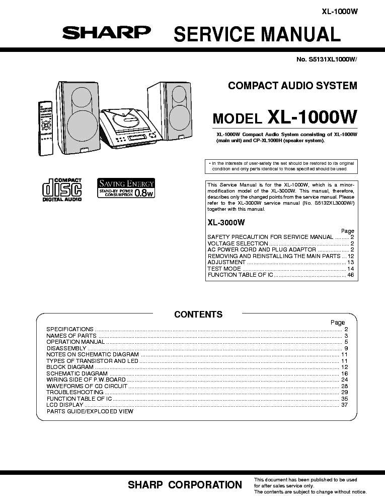 SHARP XL1000W COMPACT AUDIO SYSTEM Service Manual download
