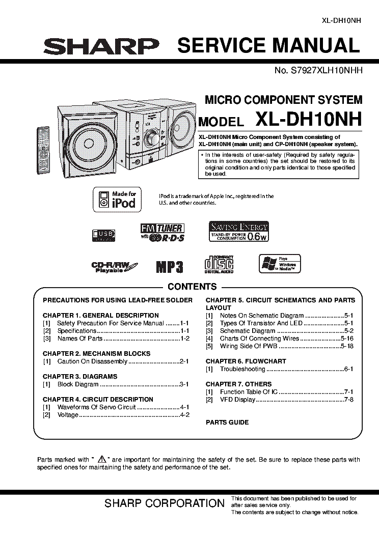 Sharp Xl Dh10nh Sm Service Manual Download Schematics Eeprom Repair Info For Electronics Experts