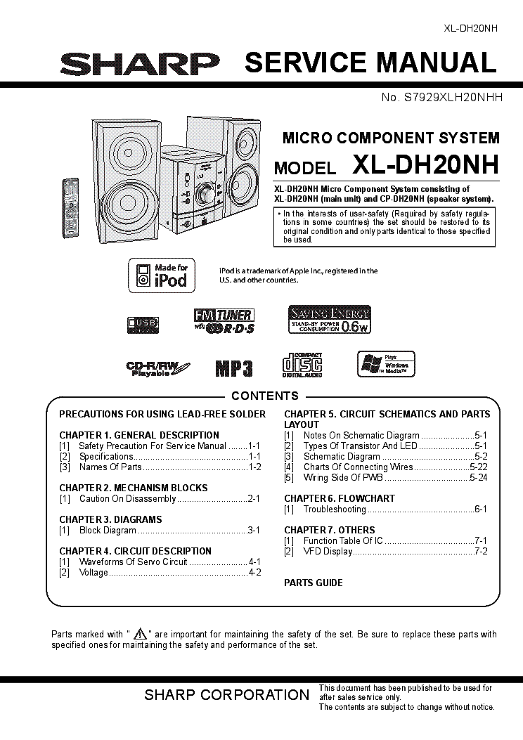 Sharp sx 8800h service manual