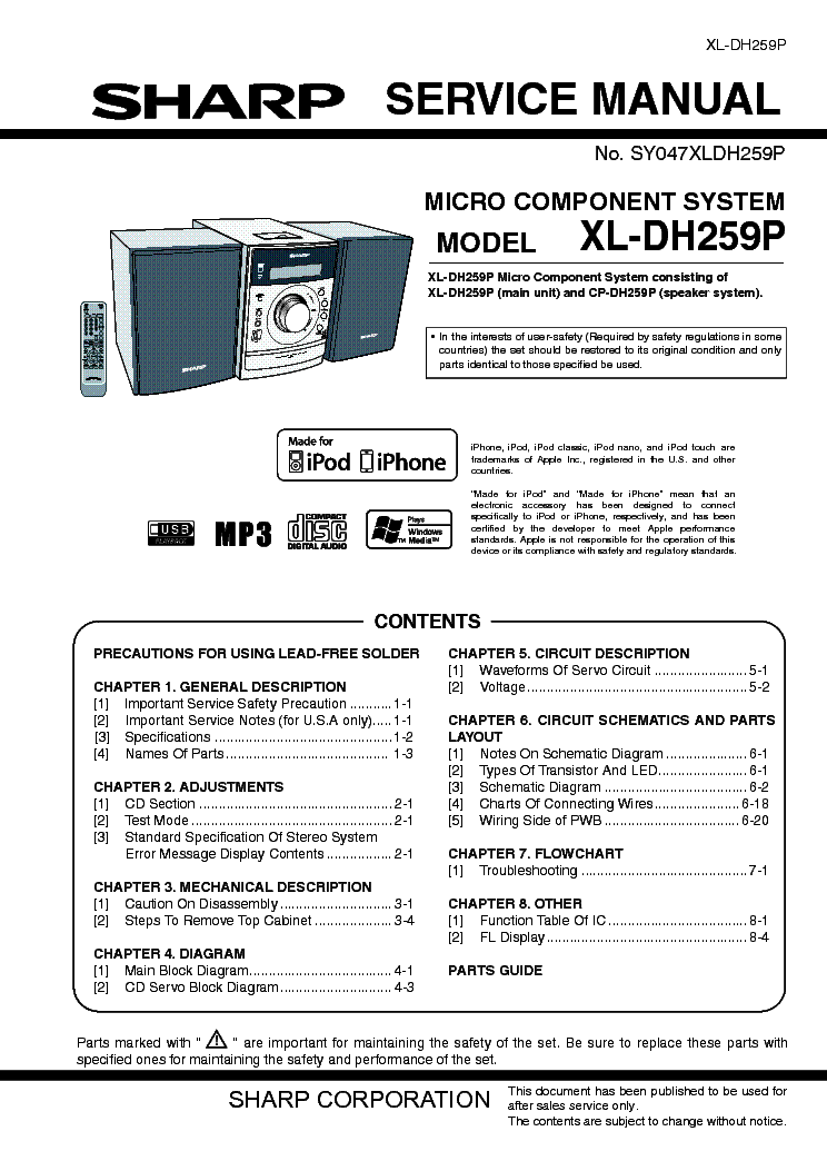 sharp xl dh259p service manual download schematics eeprom repair rh elektrotanya com Sharp View Cam Cameras Microwave Oven Sharp R 308J