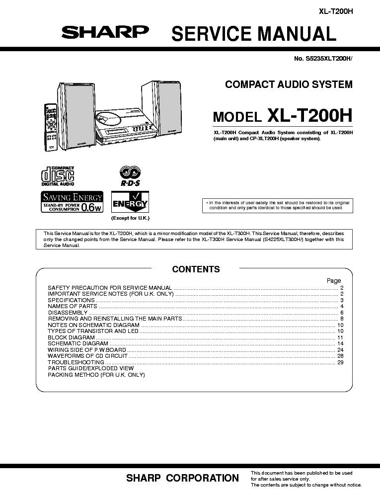 sharp xl t200 service manual download schematics eeprom repair rh elektrotanya com Manual Sharp Atomic Clock SPC 891 Sharp ManualsOnline