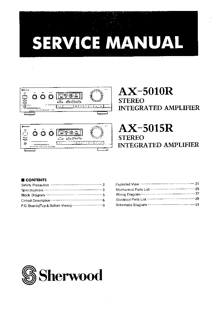 sherwood ax 5010r 5015r service manual download, schematics, eeprom electrical free download sherwood ax 5010r 5015r service manual (1st page)