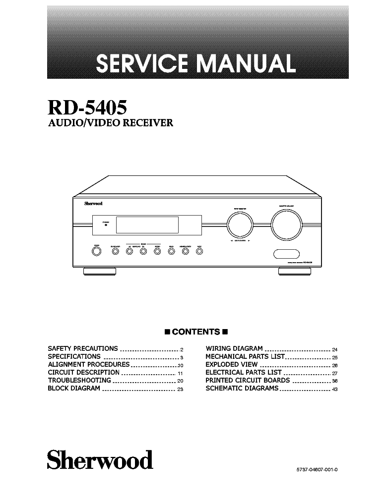 SHERWOOD RD-5405 AV RECEIVER service manual (1st page)