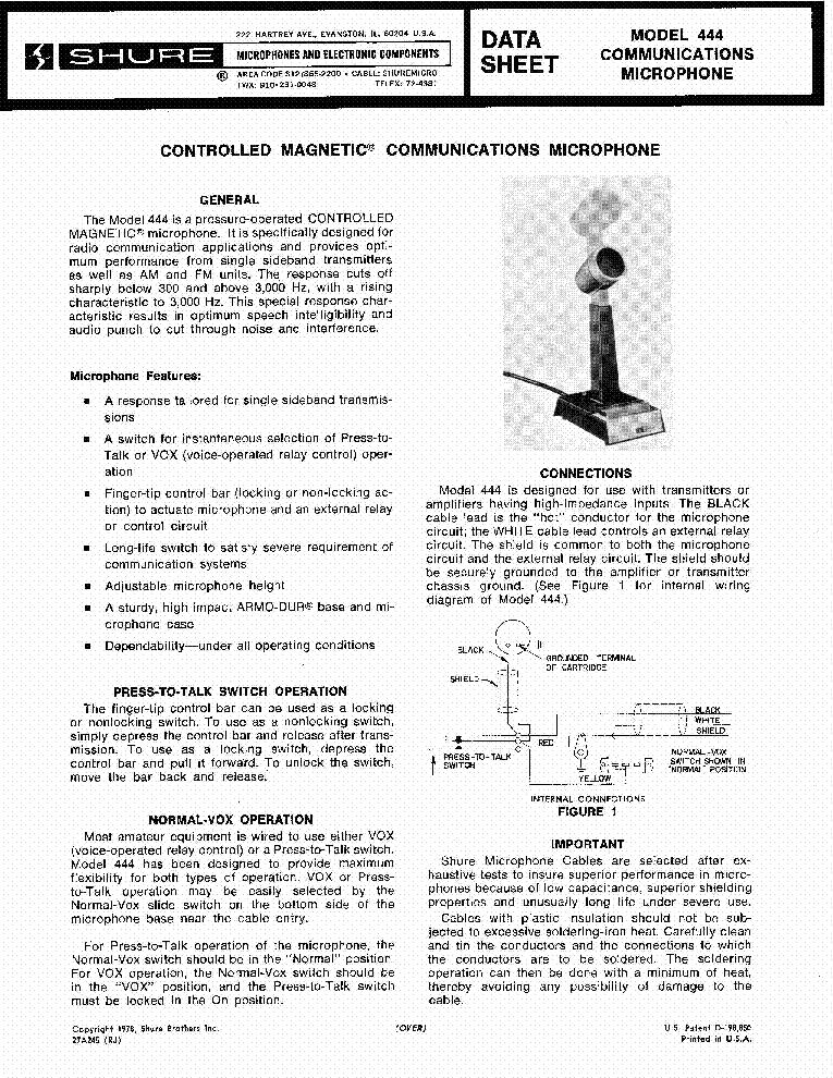 shure 444 microphone wiring diagram hecho shure wiring diagram