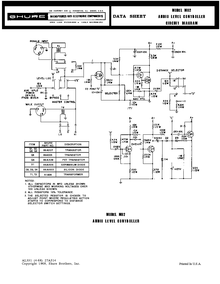 shure m62 sch service manual download schematics eeprom repair rh elektrotanya com Operators Manual Operators Manual