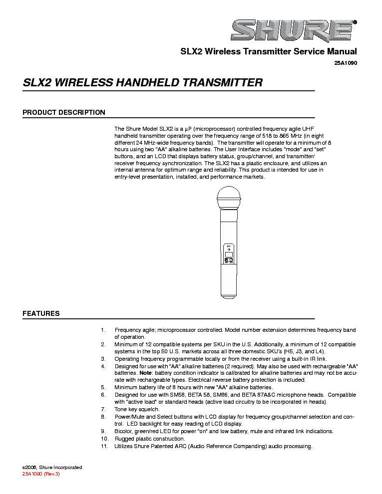 Shure Slx2 Service Manual Download  Schematics  Eeprom