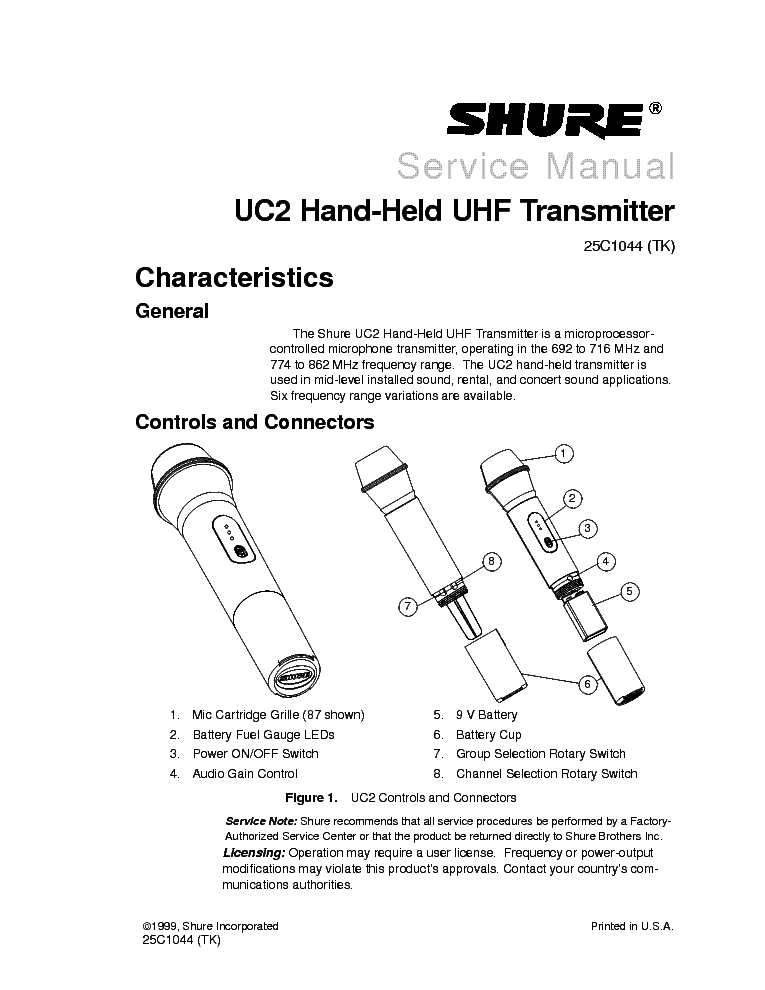 shure uc2 sm 58 service manual (2nd page)