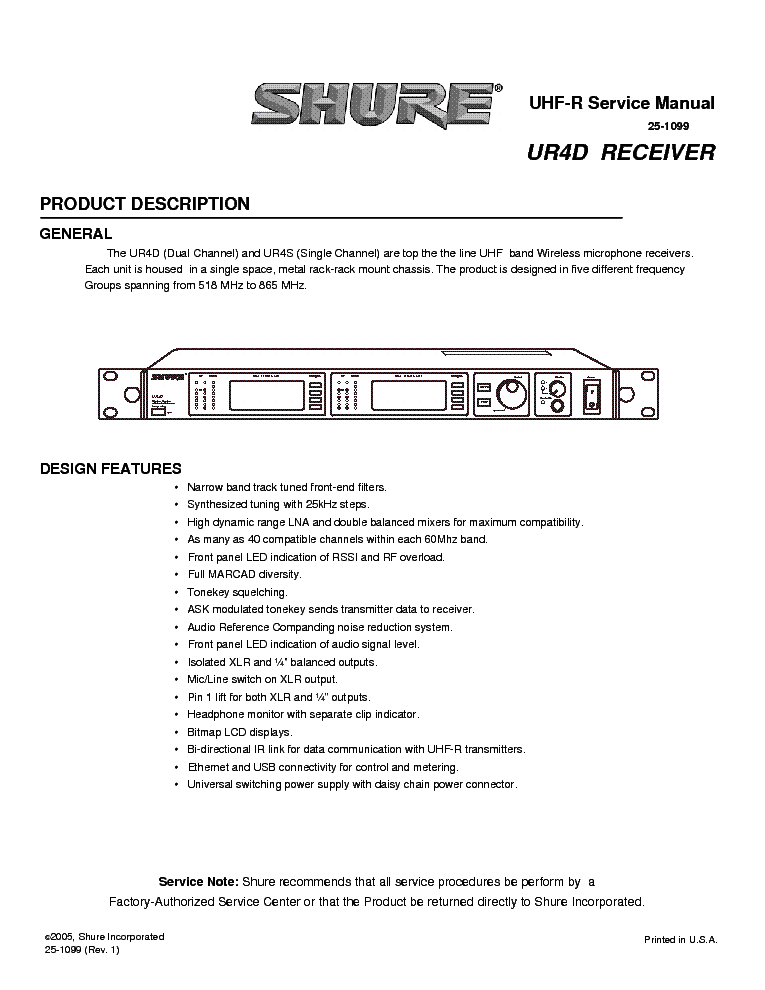 shure ur4d uhf receiver sm service manual download schematics rh elektrotanya com User Manual PDF shure service manual