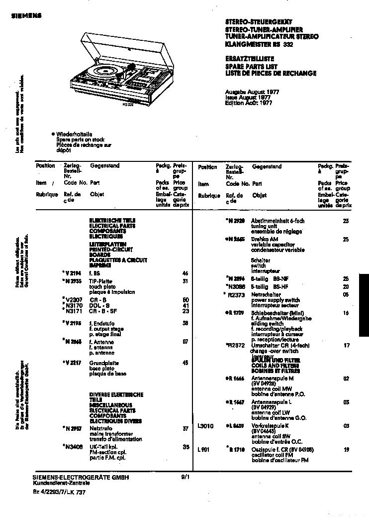 Siemens Klangmeister Rs332 Parts List En De Fr Service