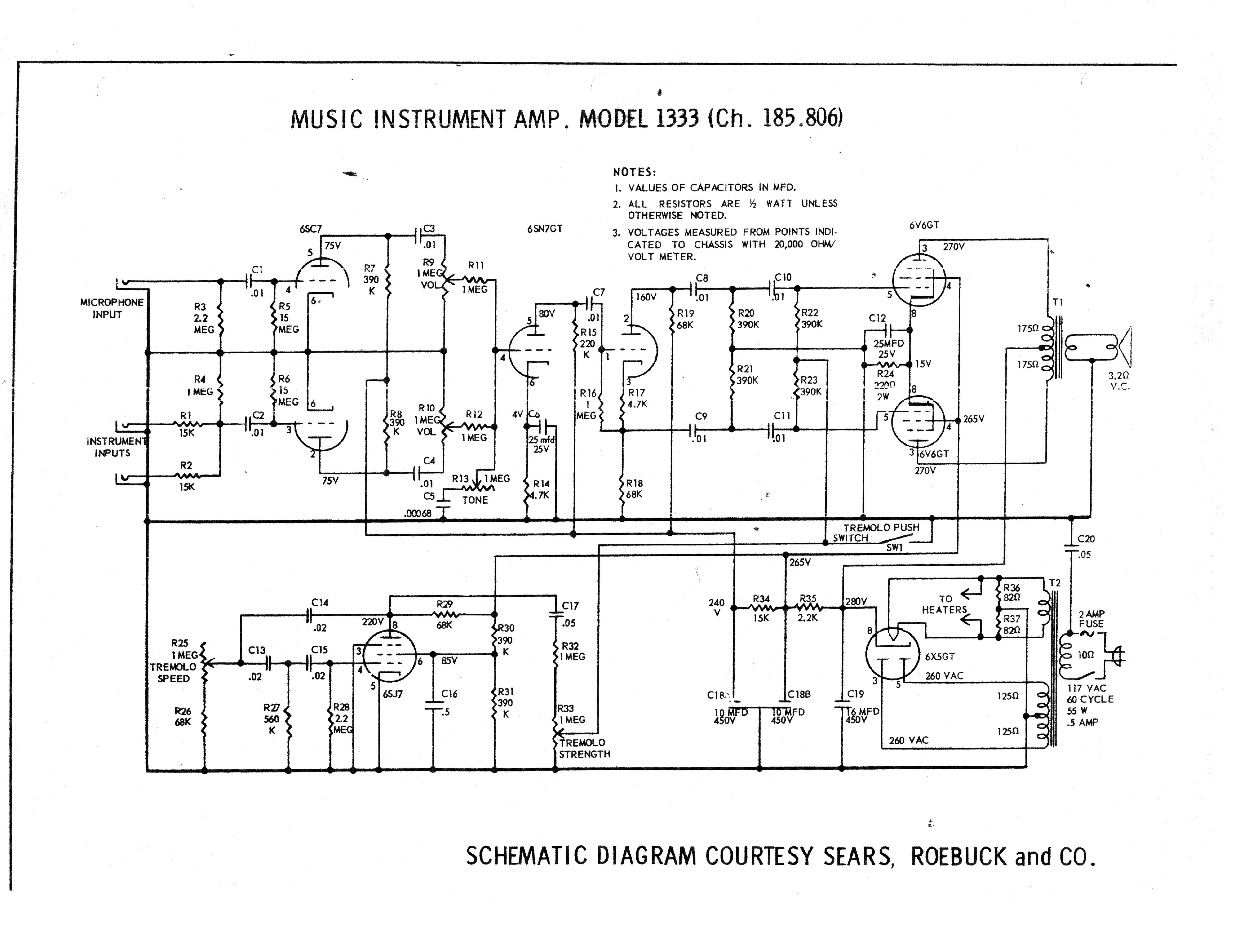 Silvertone 1333 Sch Service Manual Download Schematics Eeprom 1457 Wiring Diagram 1st Page