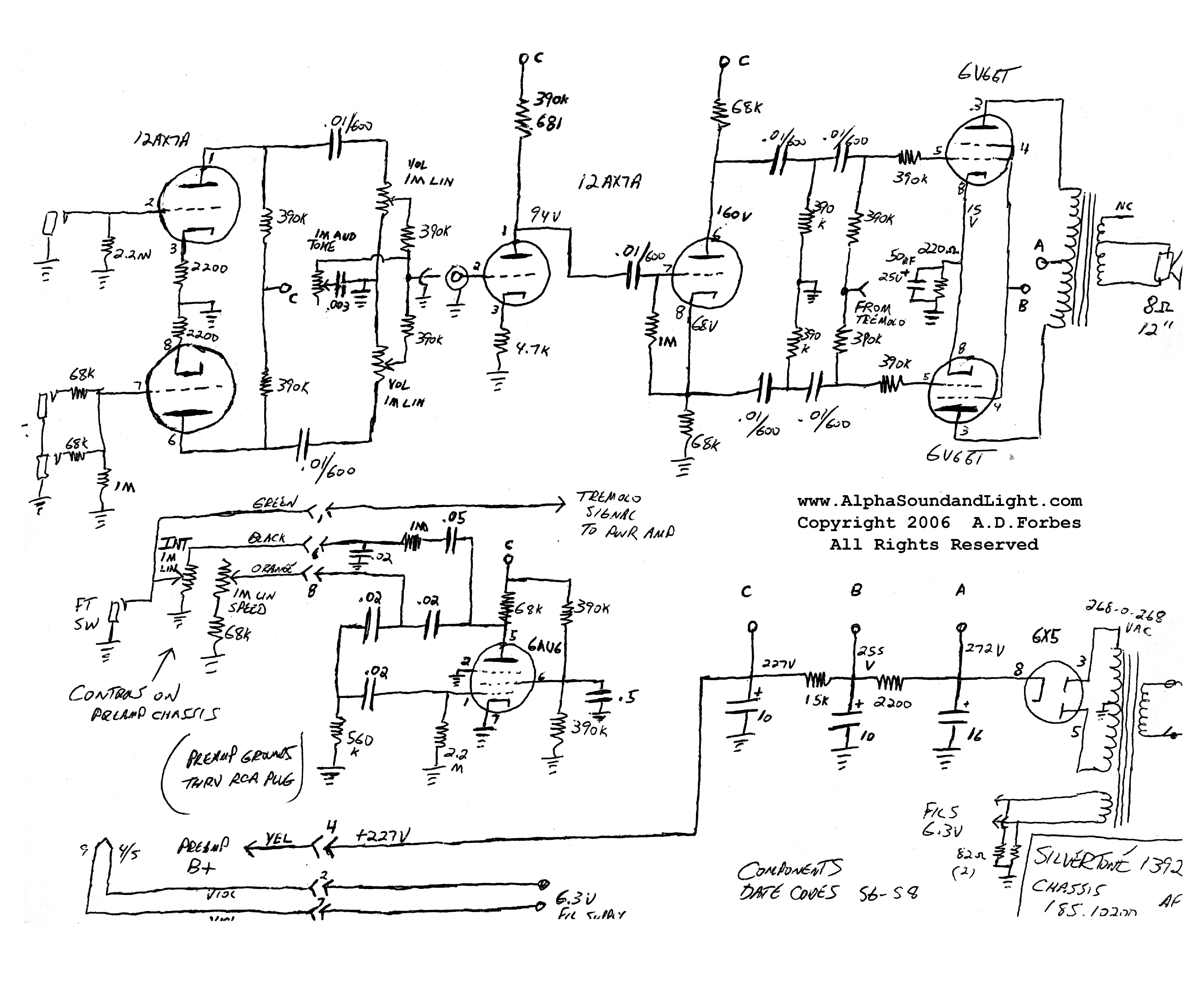 silvertone 1392 sch service manual free download, schematics on silvertone 1482 schematic amp