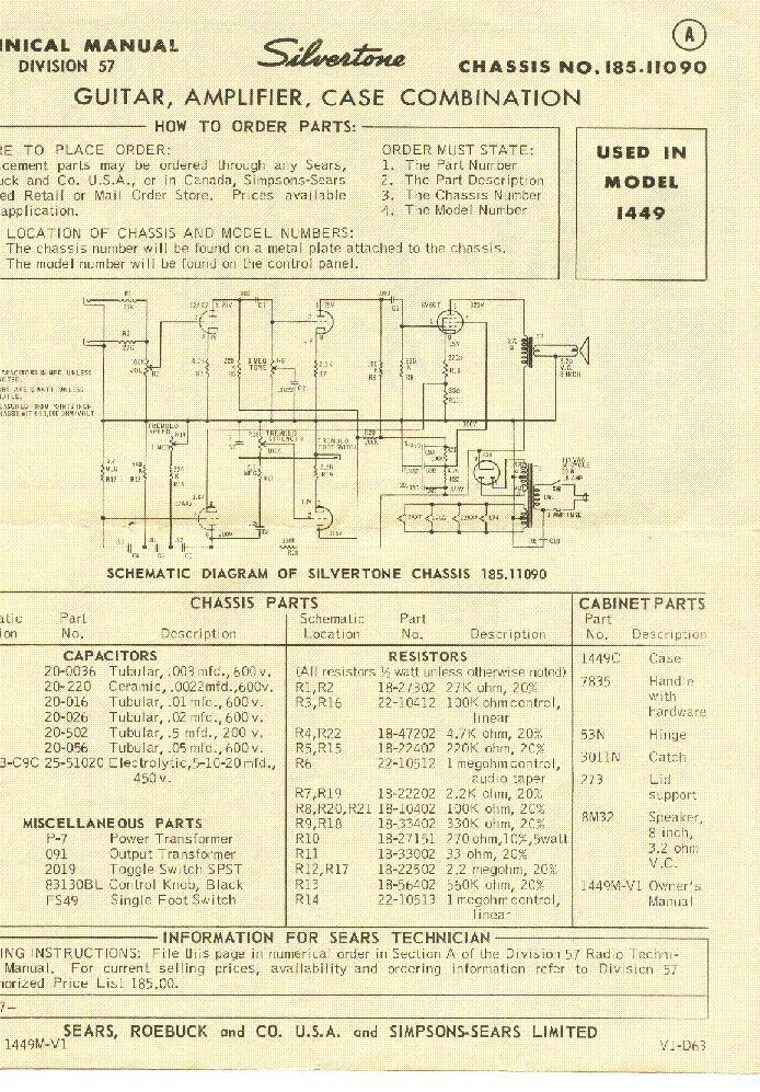 Silvertone 1448 Sch Service Manual Download  Schematics