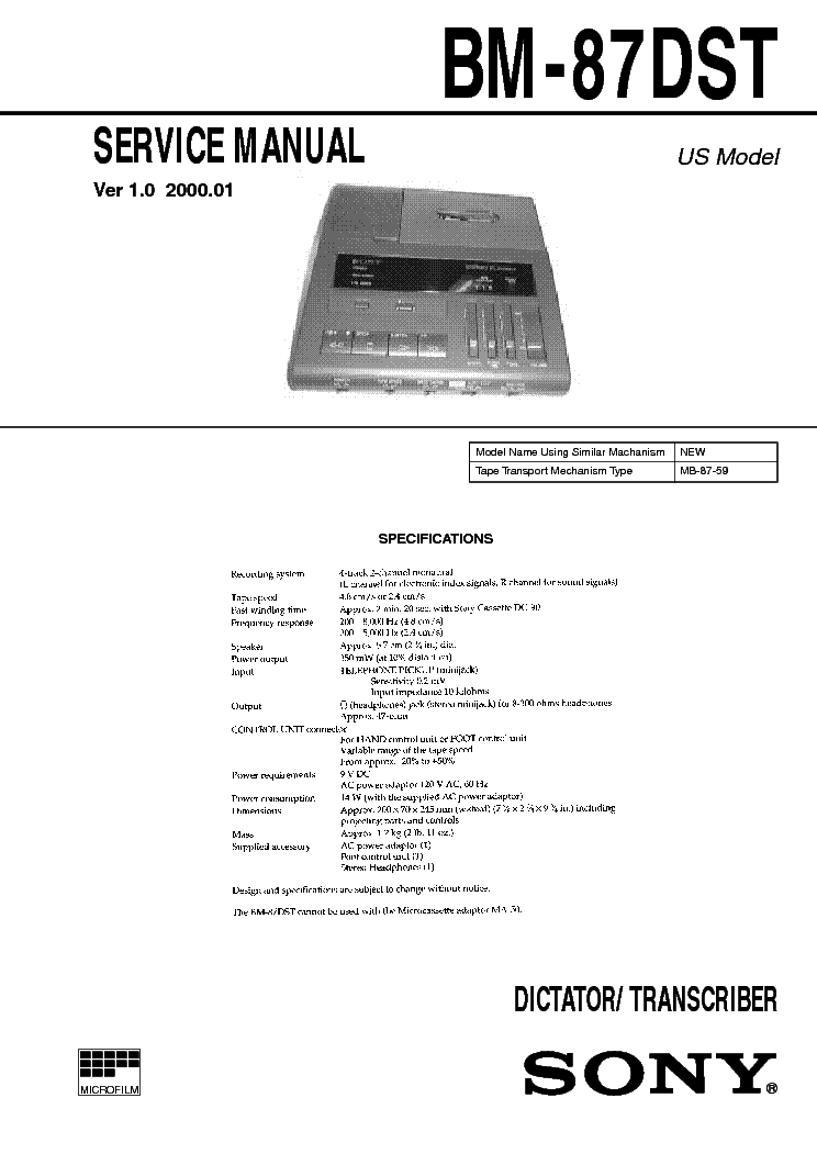 SONY BM-87DST service manual