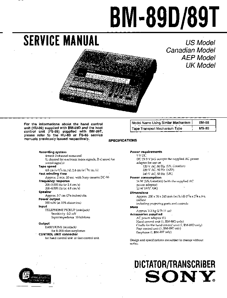 SONY BM-89D 89T service manual (1st page)