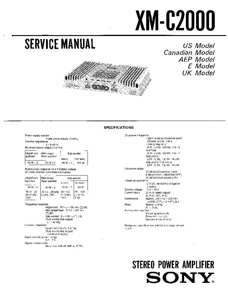 sony car pw amplifier xm c2000 service manual download, schematics