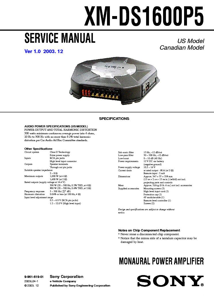 Sony xm-n1004 ver. 1. 0 car audio power amplifier service manual.