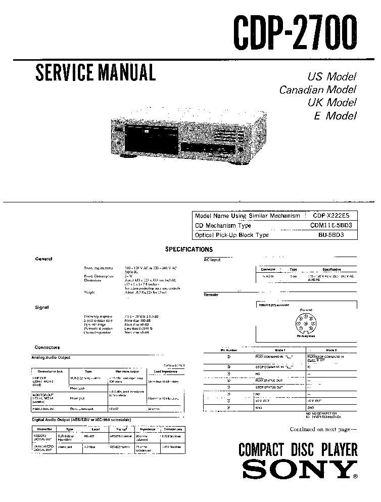 SONY CDP-2700 X222ES SM service manual