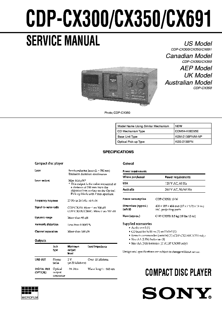 SONY CDP-CX300 CX350 CX691 service manual