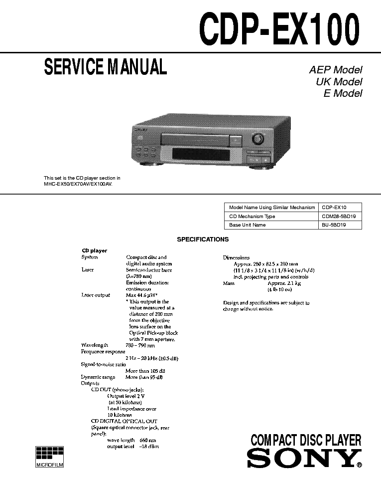 SONY CDP-EX100 service manual