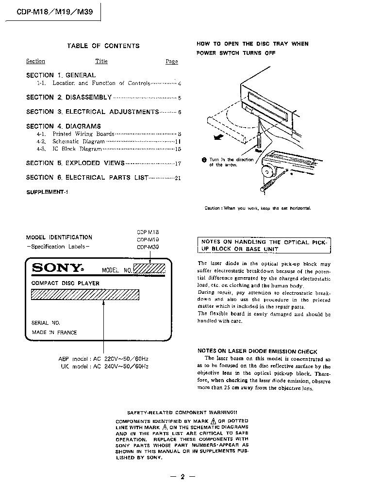 SONY CDP-M18,M19,M39 service manual (2nd page)