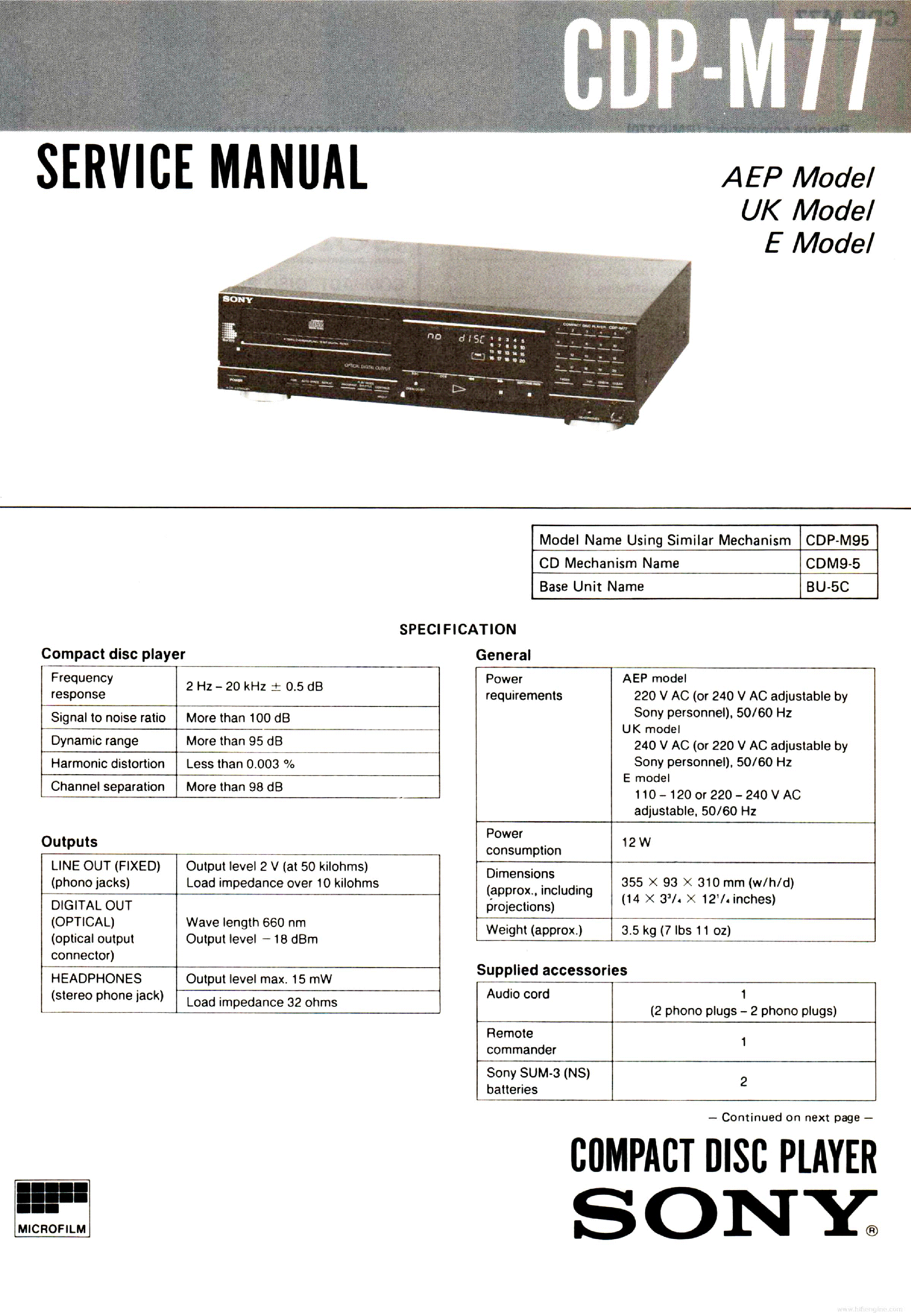 SONY CDP-M77 SM FULL service manual (1st page)