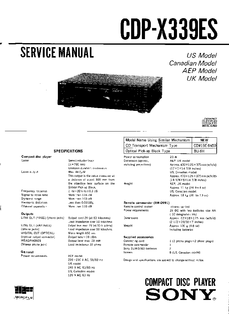 SONY CDP-X339ES SM 2 service manual (1st page)