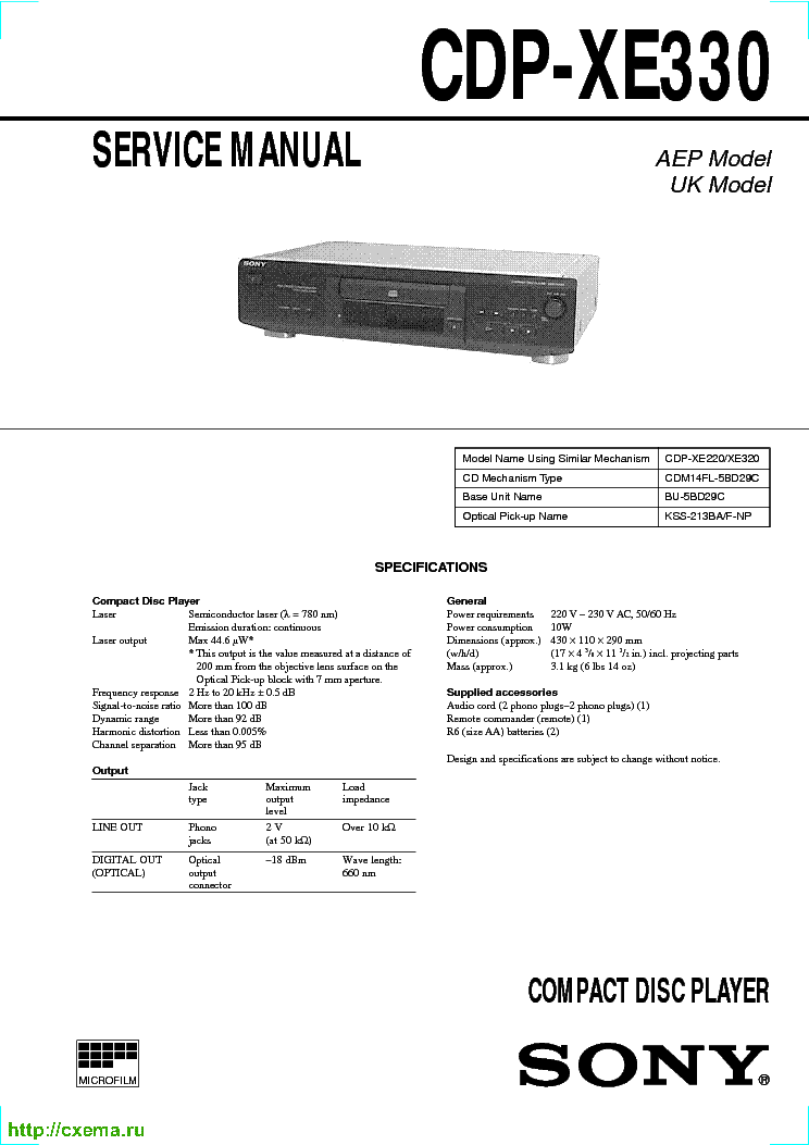 SONY CDP-XE330-SM service manual