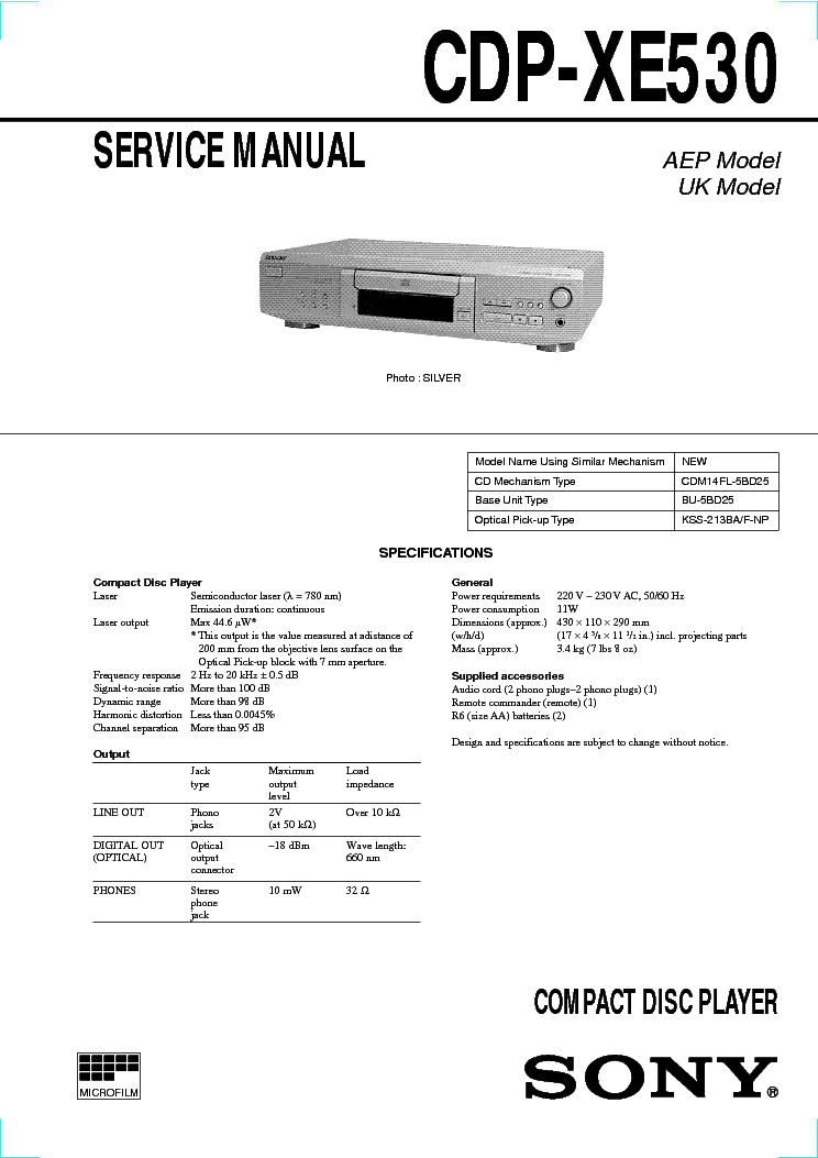 SONY CDP-XE530 service manual