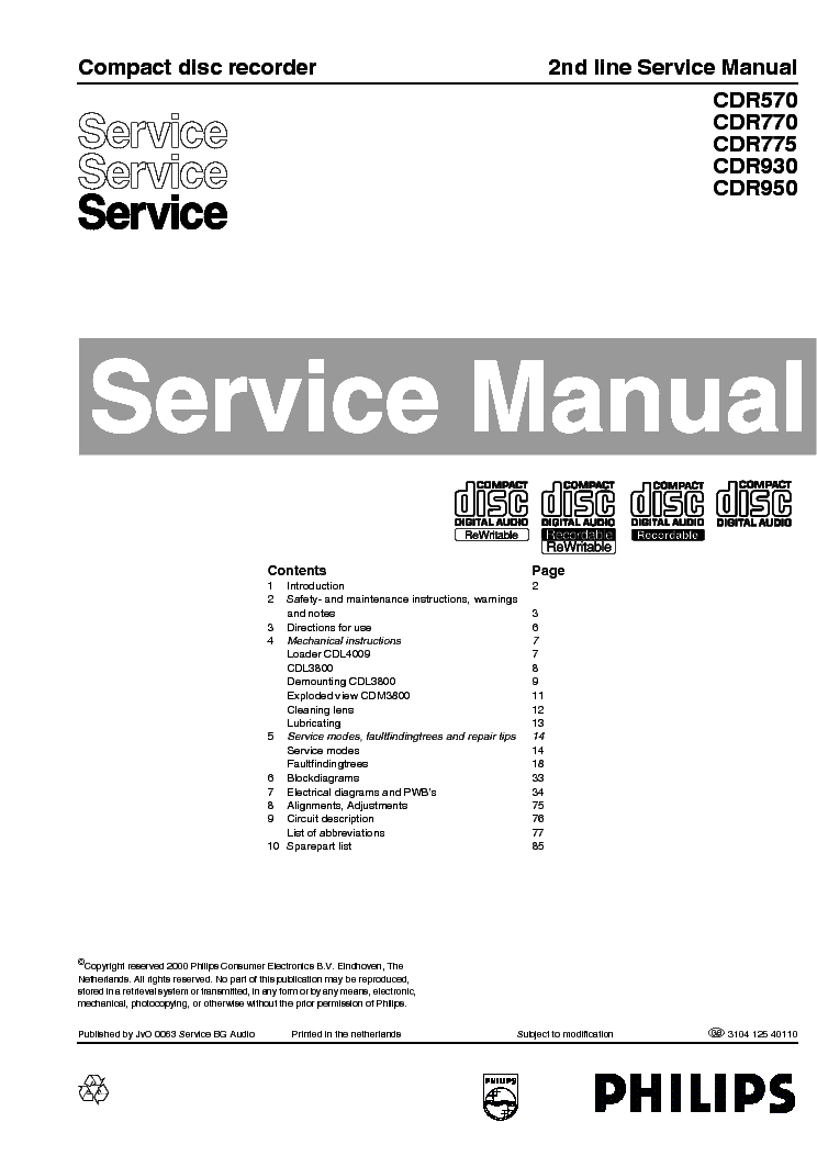 SONY CDR-570-770-775-930-950 service manual