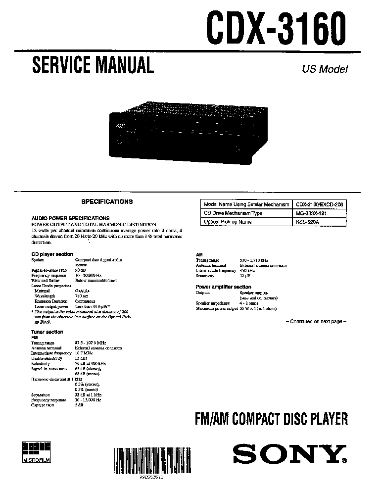 sony cdx 3160 sm service manual schematics eeprom repair info for electronics experts
