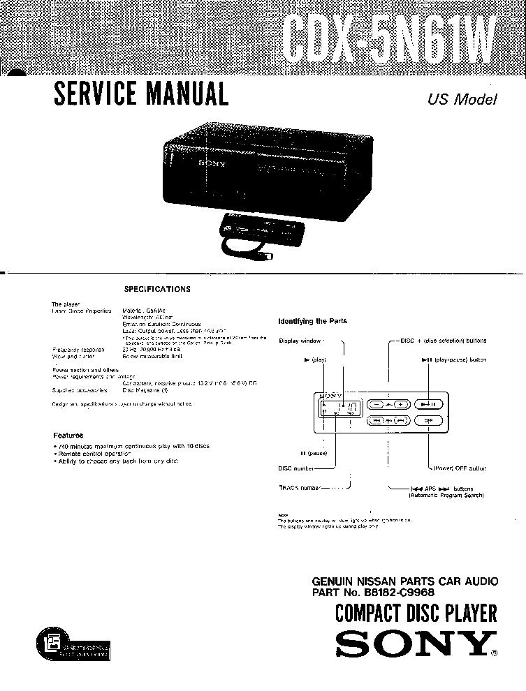 SONY CDX-5N61W service manual