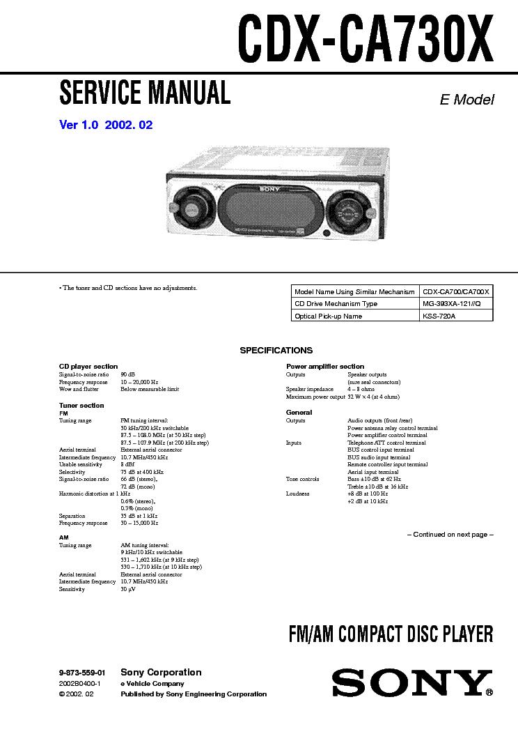 sony cdx ca730x service manual schematics eeprom sony cdx ca730x service manual