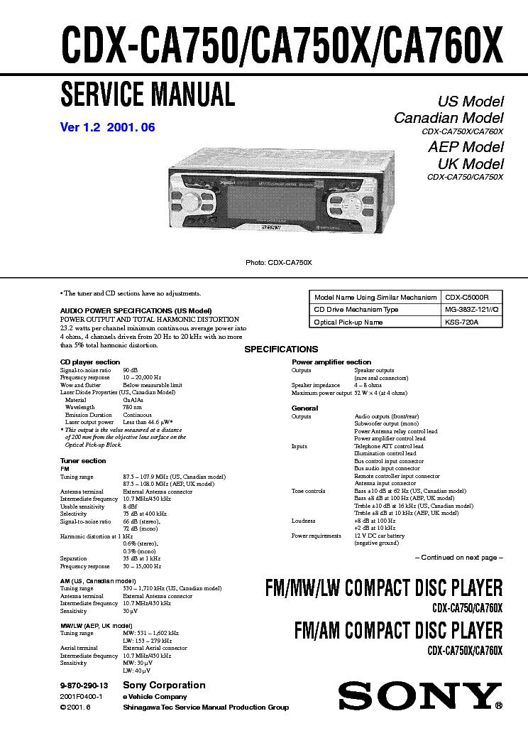 SONY CDX-CA750 X,CA760X