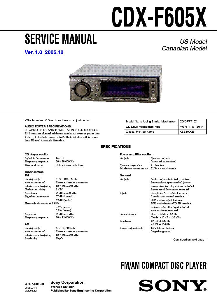 CDX-F605X SONY CDX-F7500