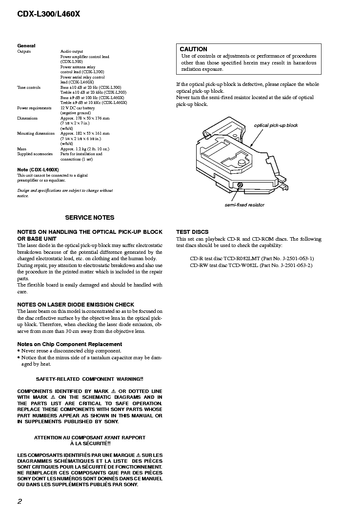 sony cdx-l300 l460x sm service manual (2nd page)