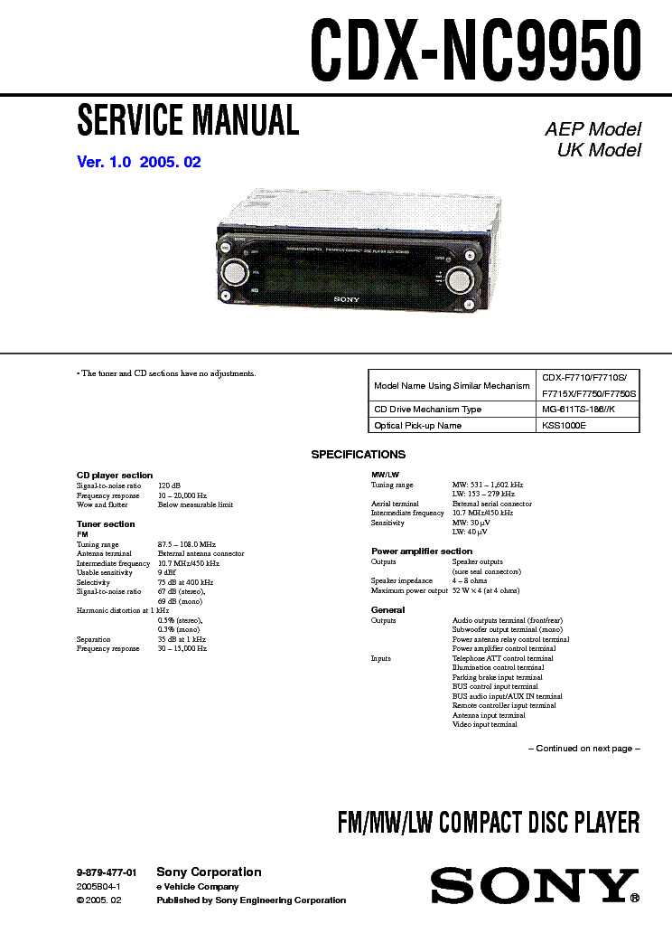 sony_cdx nc9950_ver.1.0.pdf_1 sony hst 700w service manual download, schematics, eeprom, repair sony cdx f5710 wiring diagram at letsshop.co