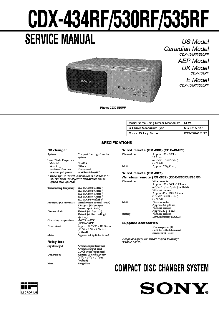 SONY CDX530RF service manual (1st page)