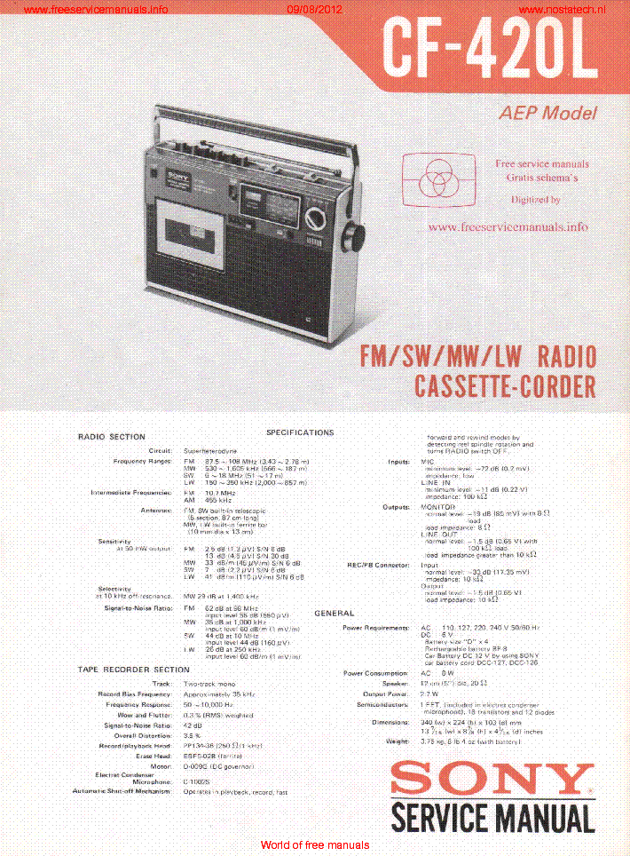 SONY CF-420L SM service manual (1st page)