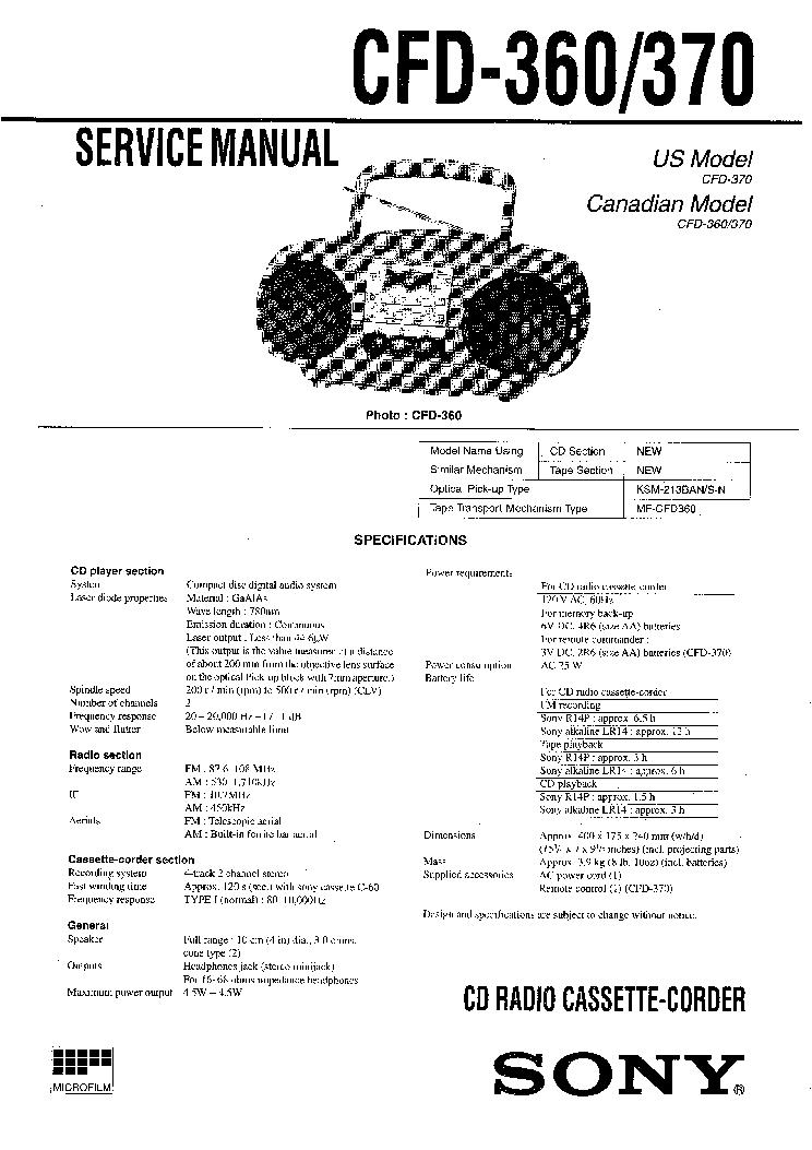 Схема sony cfd 370