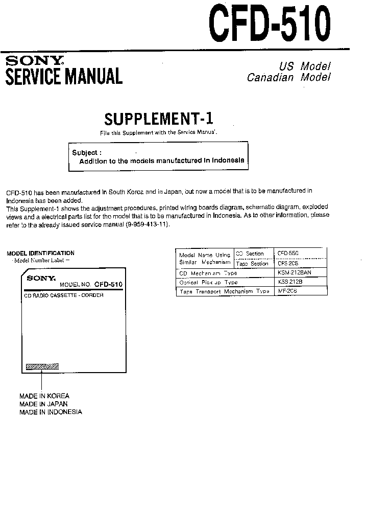 SONY CFD-510 SUPP-1 SM service manual