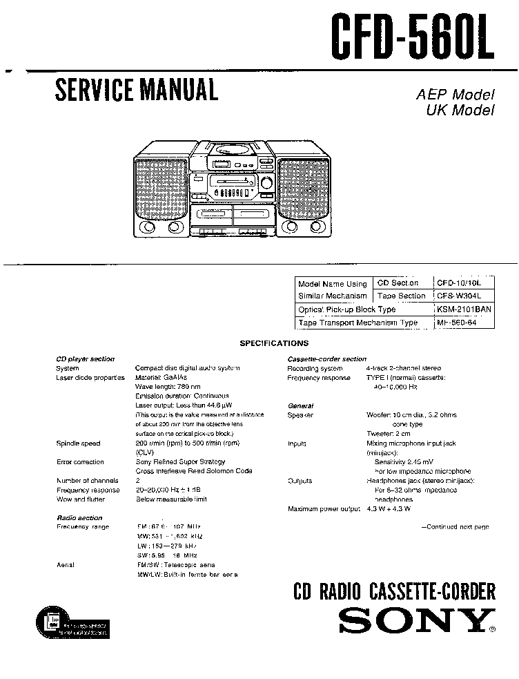 SONY CFD-560L SM service manual