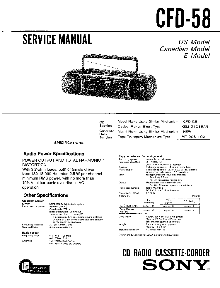 SONY CFD-58 SM service manual