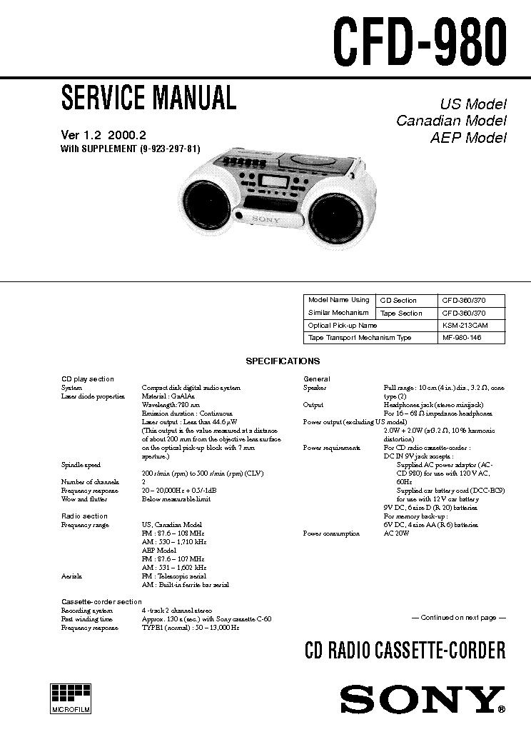 Схема sony cfd 370 582