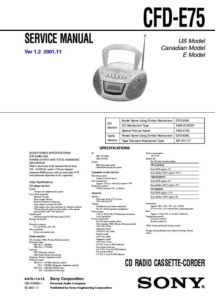 SONY CFD-E75 VER-1.2 SM service manual